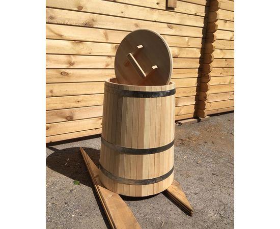Кадка деревянная с крышкой 200 л. Бочка для воды, фото , изображение 3