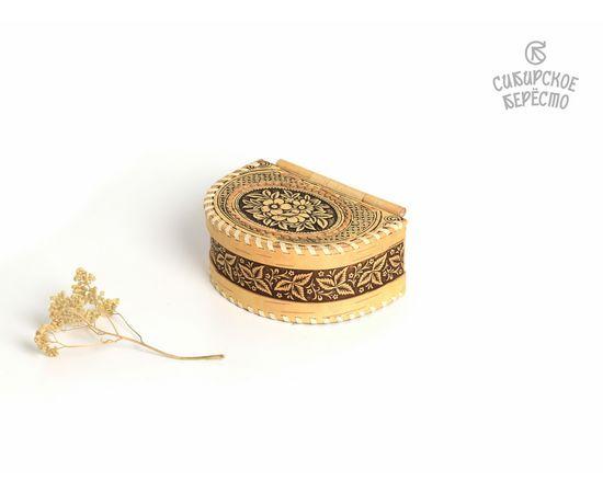 """Шкатулка из бересты на шарнире """"Цветы"""", фото , изображение 2"""