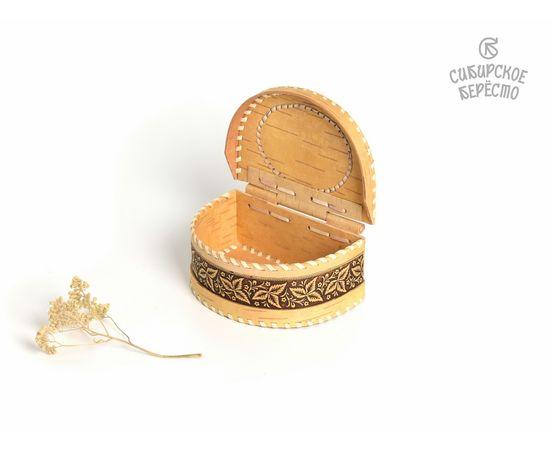 """Шкатулка из бересты на шарнире """"Цветы"""", фото , изображение 7"""