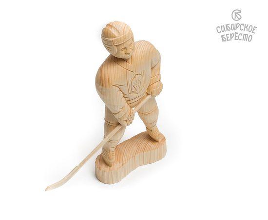 Статуэтка из дерева большая «Хоккеист», фото , изображение 3