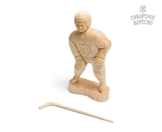 Статуэтка из дерева большая «Хоккеист», фото , изображение 6