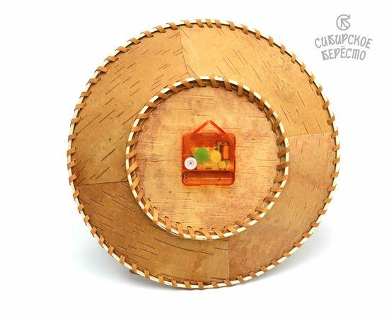 """Часы из бересты настенные большие """"Медведь на дереве"""", фото , изображение 2"""