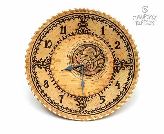 """Часы из бересты настенные большие """"Белка"""", фото"""