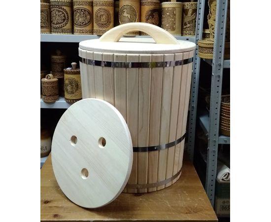 Кадка из кедра с гнетом и крышкой 70 л, фото , изображение 4