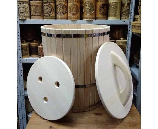 Кадка из кедра с гнетом и крышкой 70 л, фото , изображение 3