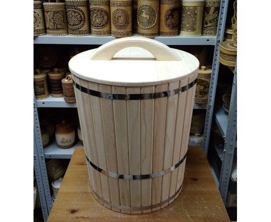 Кадка из кедра с гнетом и крышкой 70 л, фото , изображение 2