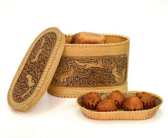 """Набор из бересты """"Озорные белки"""" хлебница и тарелка, фото , изображение 3"""