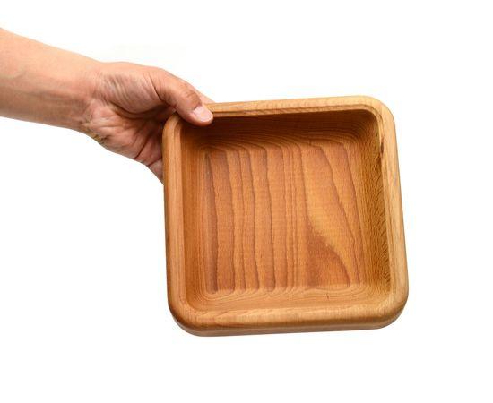 Тарелка квадратная большая из бука, фото , изображение 4