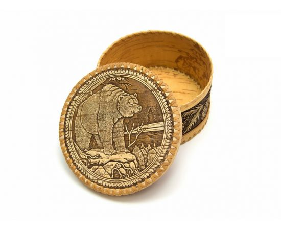 Шкатулка большая круглая «Бурый медведь», фото , изображение 2