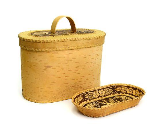 """Набор из бересты """"Лебеди"""" хлебница + тарелка, фото , изображение 6"""