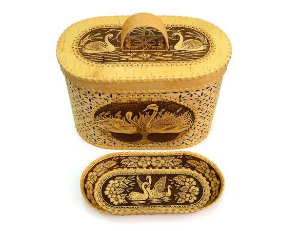 """Набор из бересты """"Лебеди"""" хлебница + тарелка, фото , изображение 4"""