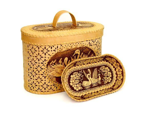 """Набор из бересты """"Лебеди"""" хлебница + тарелка, фото , изображение 3"""