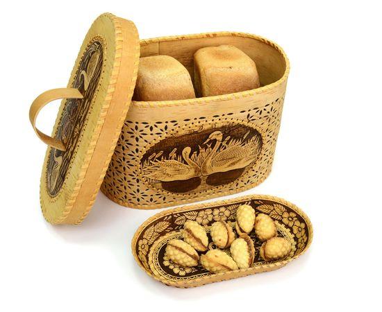 """Набор из бересты """"Лебеди"""" хлебница + тарелка, фото , изображение 2"""