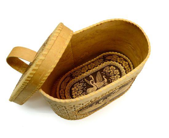 """Набор из бересты """"Лебеди"""" хлебница + тарелка, фото , изображение 7"""