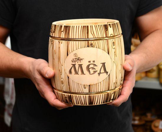 Бочонок для меда «Бондарь» светлый 3,0 кг, фото , изображение 7