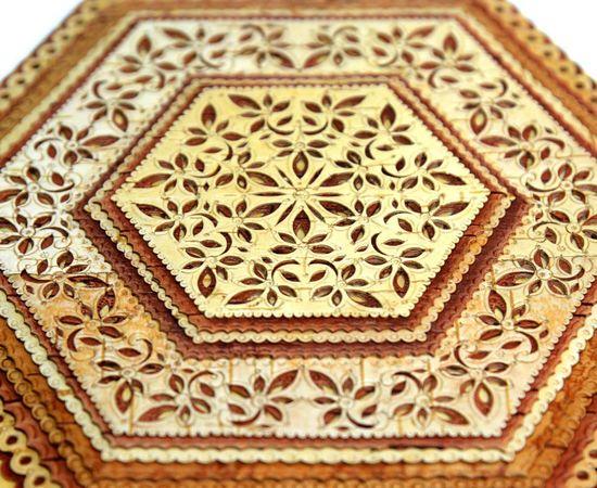 Шкатулка шестигранная резная с зеркалом, фото , изображение 2