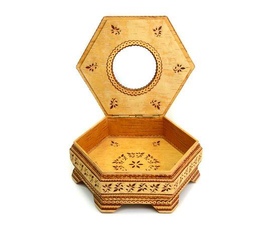 Шкатулка шестигранная резная с зеркалом, фото , изображение 4
