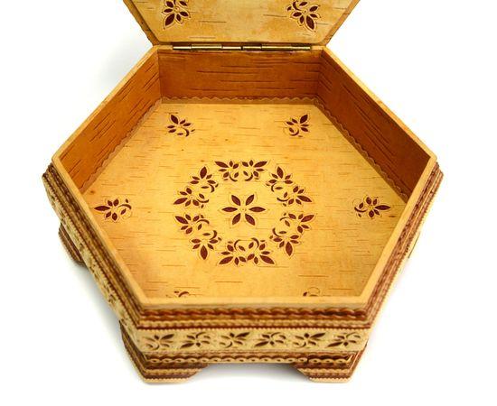 Шкатулка шестигранная резная с зеркалом, фото , изображение 5